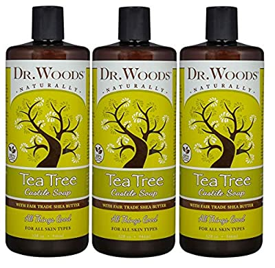 Dr. Woods Pure Tea Tree Liquid Castile Soap with Organic Shea Butter, 32 Ounce (Pack of 3)