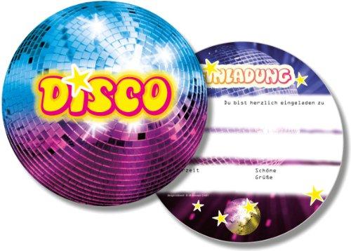 DH-Konzept 6 Einladungskarten * Disco * für Kindergeburtstag und Party DISCOE020 // Kinder Geburtstag Party Einladung Einladungen Karte Glitzer Discokugel