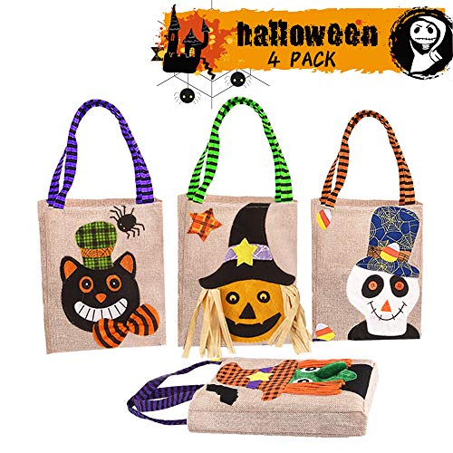 Halloween Tote Bags, Halloween Non-Woven Bags Trick or Treat Bags Party Gift Goodie Bags Pumpkin Candy Bags with Handles for Halloween Parties (4 Pack, 4 Styles)