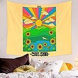 Vintage Rainbow Doors Tapiz Bohemio Colgante De Pared Arte De La Pared Decoración Hippie Estética Decoración De La Habitación Cartas Del Tarot Decoración Mural 150x100cm