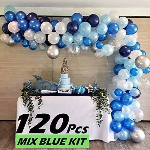 RC&Z Balloon Garland Arch Kit, 120pcs Navy Blue, Royal Blue, Baby Blue, White, Silver Metallic and Confetti Latex Balloons for Baby Shower Decorations Bachelorette Birthday Party Backdrop Background