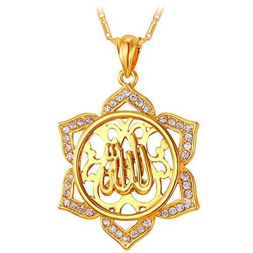 U7 Allah Pendant Muslim Jewelry 18K Gold Plated Big Statement Flower Islamic Necklace