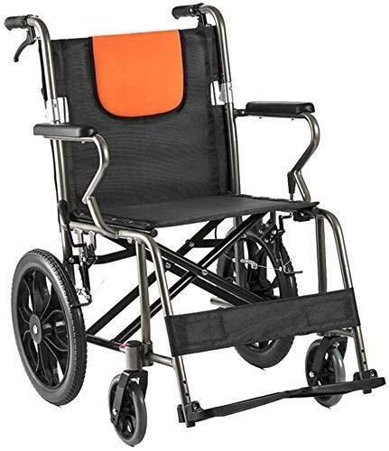 CLJ-LJ Hand-Push Wheelchair - Foldable Lightweight Aluminum Transport Travel Comfortable Wheelchair, Portable with Storage Bag, Adjustable Pedal