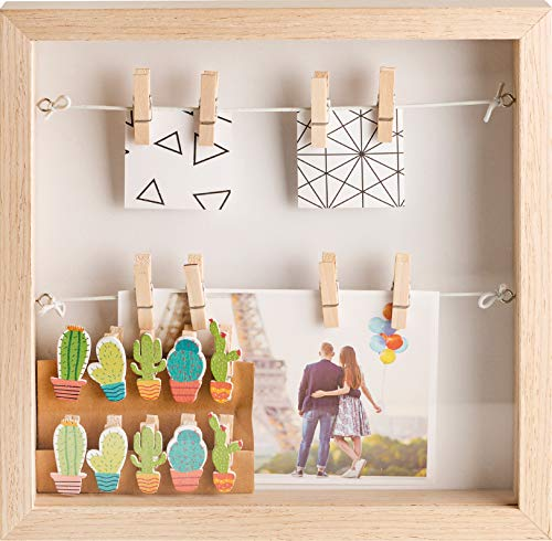 Gadgy  Box frame with 18 Clips | 10x10 inch (25x25x4 cm) | Wood Box Design | 3D Shadow box | Display your Photo Memories