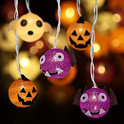 YUNLIGHTS Halloween String Lights (Pumpkin, Ghost and Bat), 10 Foot 20 LEDs Halloween Decoration Lights, Hanging Lights Battery Operated for Indoor and Outdoor Decoration, Ideal for Halloween Party