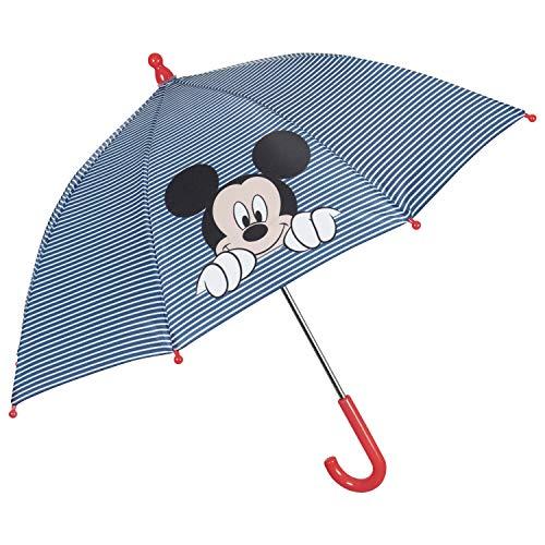 Disney Regenschirm Micky Maus Kinder - Mickey Mouse Kinderregenschirm Streifen Weiß Blau - Kinder Schirm Details Rot - Manuelle Sicherheitsöffnung Junge 3 bis 5 Jahre - Durchmesser 66 cm - Perletti
