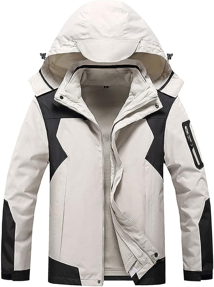 Naxxramas Mens Fleece Thicken Sports Jacket Outdoor Water-Resistant Hiking Mountain Jacket Multi-Pockets Detachable Hood