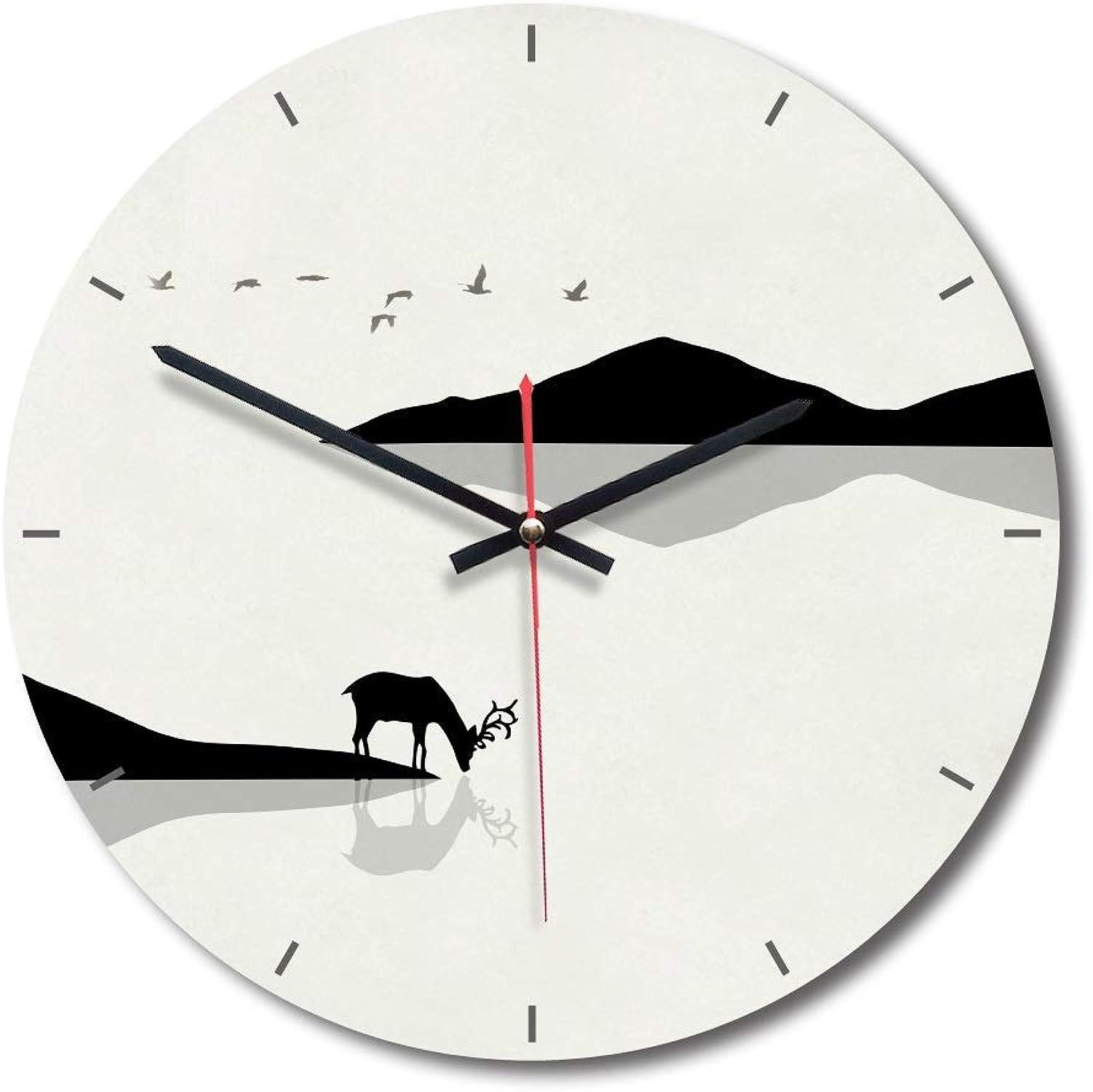 barato en línea MU MU MU Relojes de Parojo para la Sala de Estar Reloj de Parojo Creativo de Madera Maciza, silencioso, Que no Hace tictac, Moderno, Regalo Decorativo rojoondo de 11 Pulgadas (Color   B)  saludable