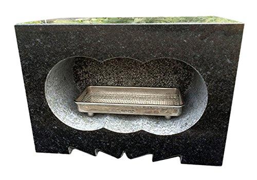 【国産】【浮金石】【福島県産黒御影石】 墓石用 角型 香炉 サイズ約幅30×奥行15×高さ21cm 【自社茨城工場加工】【空気穴加工】
