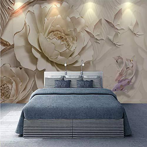 Papel pintado 3D de estilo europeo, diseño de peonía de carpa de estilo europeo, para sala de estar, TV, sofá, dormitorio, fondo, decoración 3D, 200 x 140 cm