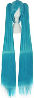 MapofBeauty Vocaloid Miku Blue 2 Ponytails Straight Long Party Costume 120cm Cosplay Wigs