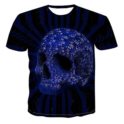 MIRANDA Camiseta de Manga Corta Suelta con Cuello Redondo 3D y Estampado de Calavera para Hombre