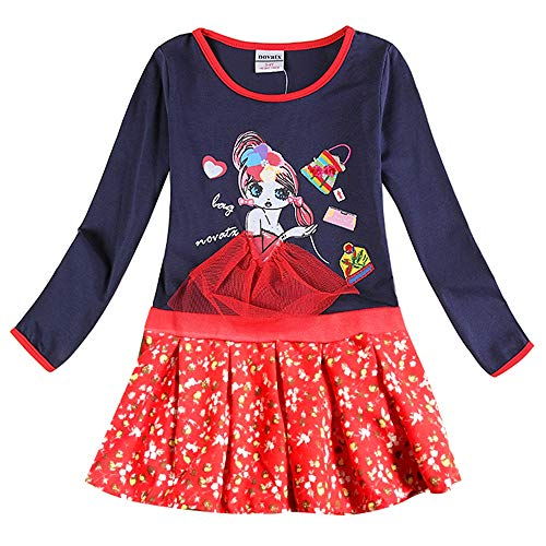JUXINSU Toddler Girl Cotton Flower Long Sleeve Dress Wave Point Cartoon White Rabbit Bow for 3-8 Years LH4829 (H6182Y-Navy, 4T)