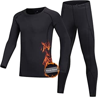 ZDCGT Boy's & Girls Athletic Baselayer Tight Pants Long-Sleeved Compression Shirt 2 Pcs Set for Baseball Hockey Running