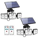 Fousômo Luces Solares para Exteriores 3 Cabezas 122 LEDs LED...