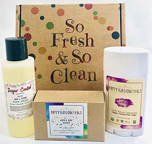 Organic Kids Deodorant + Tear Free Teen Acne Face Wash Cleanser + Shampoo Body Wash Bar Soap Tea Tree Childrens SGift Set (Daily Hygiene Kit) Children Boys Girls Kid Teens Tweens (Lavender (Girls))