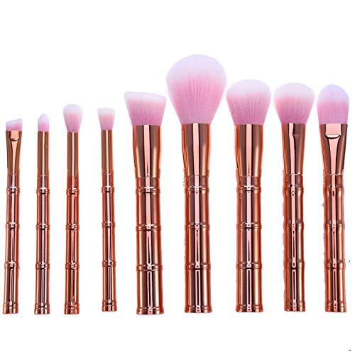 MEIMEIDA Pinceaux de maquillage Set Poignée en bambou Sourcils Synthétiques Poudre de sourcils Maquillage Pinceaux Outils Kit de brosse de fondation cosmétique, Or rose