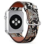 (Snake Skin Pattern) Patterned Leather Wristband Strap for Apple Watch Series 4/3/2/1 gen,Replacement for iWatch 38mm / 40mm Bands
