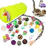MEISHANG Juguetes Gatos Pack,Juguetes para Gatos Pequeños Baratos,Gatos Juguetes Palo,Juguetes Gatos Tunel,Juguetes para Gatos Plumas,Set de Juguetes para Gatos