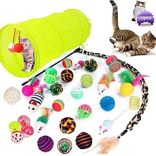 MEISHANG Katzenspielzeug Set mit Katzentunnel,Katzenspielzeug Pack,Kätzchen Maus Spielzeug Set,Katzenspielzeug Ball mit Feder,Federspielzeug für Katzen,Katzenspielzeug Set(30P)