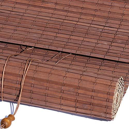 WYAN Bambus Roll up Lamellenstoren, Blackout Roller Fenster Jalousien mit Volant, Ideal for Porch Terrasse, Balkon, Braun, 50cm / 60cm / 70cm / 80cm / 90cm / 100cm Breite Per finestra/Porta/Patio