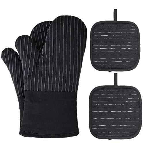 Lot de 2 gants de cuisine antidérapants de qualité supérieure - Jusqu'à 240 °C - En silicone - Résistants à la chaleur - Pour la cuisine, la pâtisserie, le barbecue