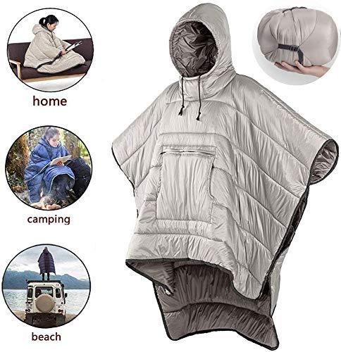Erwachsener Tragbare Schlafsack Kleine Warme Hoodie Decke, Im Freien Winter Poncho Winddicht Wasserdicht mit Kapuze Mantel Decke, Travel Men and Women Wearable Cloak Khaki