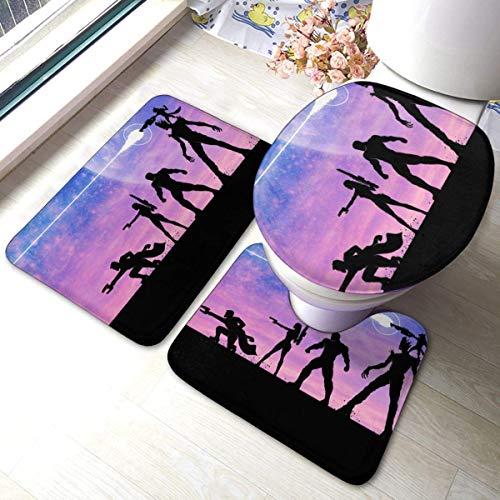 xinping Juego de alfombrillas de baño de 3 piezas, juego de alfombras de baño y almohadillas absorbentes de baño y alfombrillas antideslizantes
