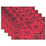 Hokdny Tovaglietta Vintage Rosa Rossa Tovaglietta da Tavola 12 'X 18' in Poliestere Tappetini da Cucina Resistenti al Calore