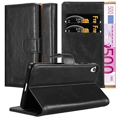Cadorabo Hülle für Sony Xperia E5 in Graphit SCHWARZ – Handyhülle mit Magnetverschluss, Standfunktion & Kartenfach – Hülle Cover Schutzhülle Etui Tasche Book Klapp Style