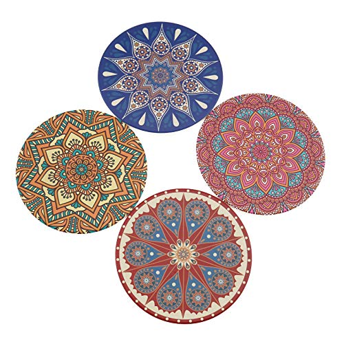 OTOTEC 4 stks Absorbens Drink Spills Coasters Bohemen Stijl Veelkleurig/Zwart en Wit Ronde Mok Cup Mat Tafel Decoratie