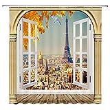 LRSJD Paris Eiffelturm Duschvorhang Stadt Wahrzeichen mit Marmor gewölbte Tür Fenster Dekor Stoff Bad Gardinen Wasserdichtes Polyester mit Haken 72x72 Zoll