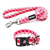 azuza Dog Collar and Leash Set, Adjustable Nylon Collar with Matching Leash, Pink Prism for Extra Small Dogs