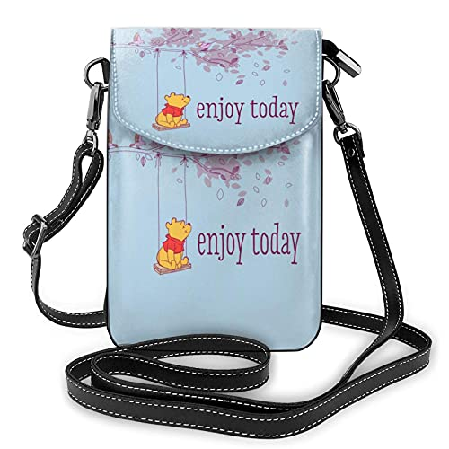 XCNGG Monedero pequeño para teléfono celular Women's Small Crossbody Bag with Shoulder Strap,Winnie The Pooh Enjoy Today Small Cell Phone Purse Wallet with Credit Card Slots
