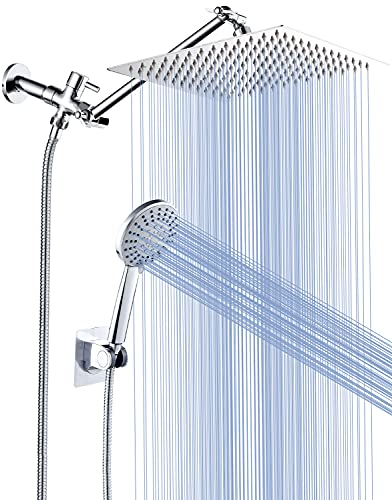 Cobbe 8'' Shower Head Combo High Pressure Rainfall Handheld 5 Settings with 11'' Extension Arm 71' Hose, Stainless Steel Bath Showerheads, Height/Angle Adjustable with Holder Pipe Sealant Tape, Chrome