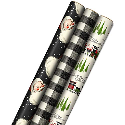 Hallmark Black Christmas Paper with Cutlines on Reverse (3 Rolls 120 sq ft TTL) Gift Wrap, Retro Santa, Plaid, and Train