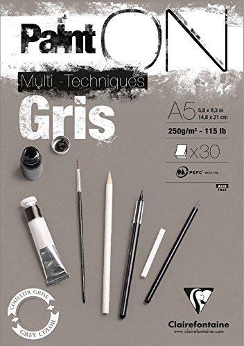 Clairefontaine 975808C PaintOn Block (250 g, DIN A5, 14,8 x 21 cm, geleimt, 30 Blätter, ideal für weiße Zeichnungen und Multitechniken) grau