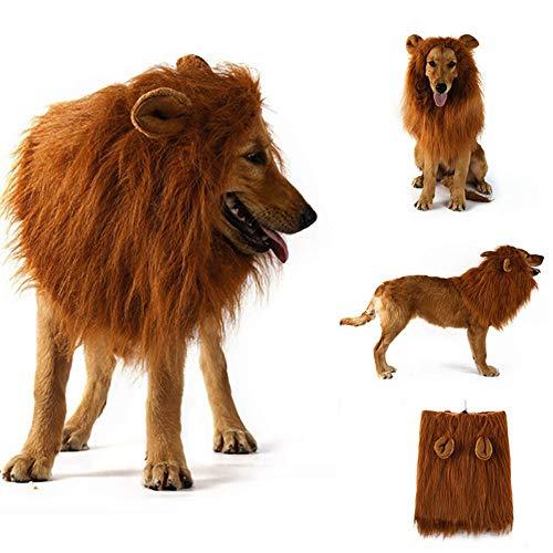 Disfraz de melena de león para perros y gatos medianos a grandes Peluca de melena de león realista realista divertida para mascotas con orejas Ropa para Halloween Fiesta de cosplay Disfraces (Dark)