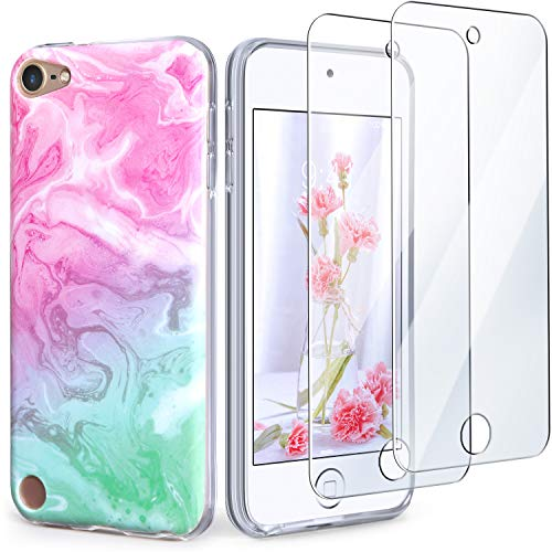 IDWELL iPod Touch Case with 2 Screen Protectors iPod Touch 7 Touch 6 Touch 5 Case Slim FIT AntiScratch Flexible Soft TPU Bumper Protective Case Latest Model2019 Released Coloful Marble