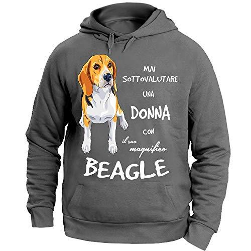 12Print Felpa con Cappuccio: Mai Sottovalutare Una Donna con Il Suo Beagle. Colore Grigio Taglia M