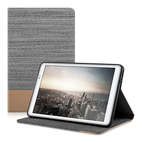 kwmobile Case Compatible with Huawei MediaPad T1 10 - PU Leather and Canvas Cover with Stand Feature - Light Grey/Brown
