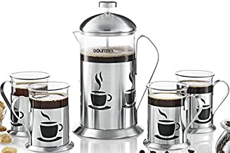 Gourmia GCM9845 French Press Coffee Maker Set 800 ml Decorative French Press Coffee Brewer With 4 Matching Stainless Steel Drinking Cups