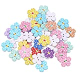 TENDYCOCO 50 Pcs 2cm 2 Holes Wooden Buttons for Craft Colorful Flowers DIY Buttons for Baby Sweater Sewing Craft (Random Color)
