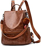 PAGWIN® Girls Fashion Backpack Cute Mini Leather Backpack Purse for Women (Brown) PG-0033