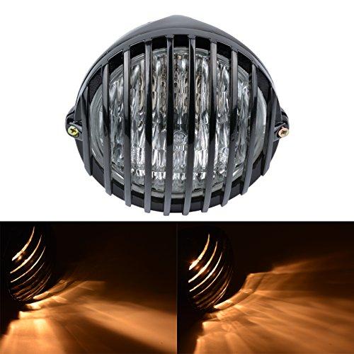 KaTur 5 1/2 Moto Phare Grill tête Lampe 12V 55W halogène pour H Arley Café Racer B obber C Hopper H Onda S uzuki Custom(Noir Shell)