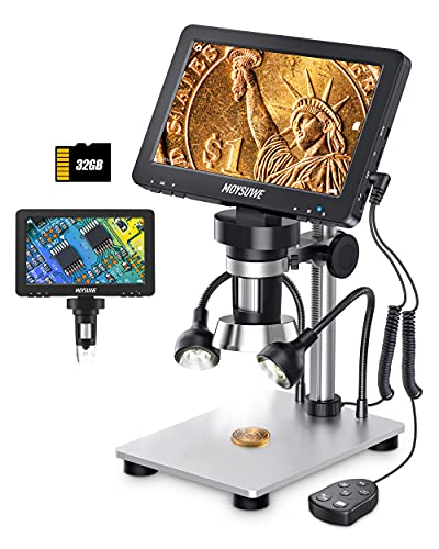 MOYSUWE 7'' Digital Microscope 1200X with LCD Screen, 2 LED Lights, Wired Remote, 12MP Camera Electronic Video Microscope with 32GB SD Card for Adults Soldering,Coins,Metal Stand, Support Windows/Mac