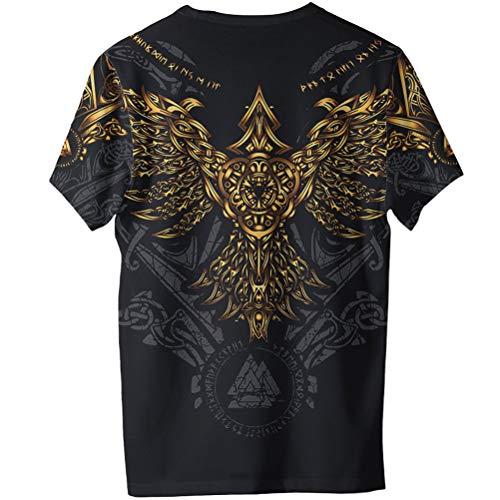 2021 Moda Masculina Odin Raven Hugin Camiseta, Tatuaje 3D Impreso Valknut Vikingo Amulet Manga Corta, Verano Cool Playa RáPido Seco Novio Adolescente Regalo Street Wear,Negro,XS
