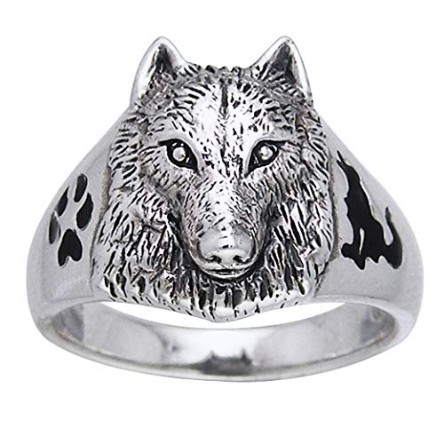 Sterling Silver Black Enamel Animal Paw, Howling Silhouette, and Wolf Head Ring Size 8(Sizes 5,6,7,8,9,10,11,12,13,14,15)
