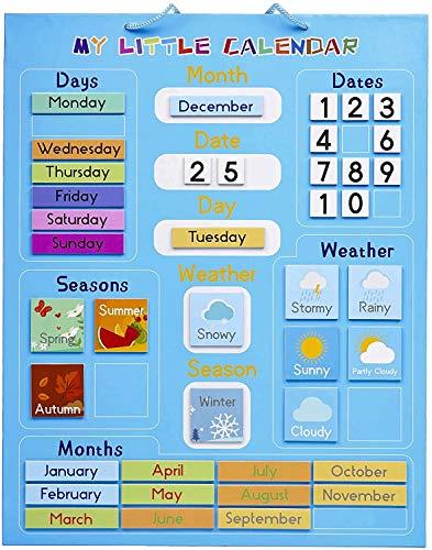 Mi Primer Calendario para Niños, Magnético 42x35cm| Juguete Educativo, Actividad Aprendizaje - Tiempo Estaciones Días Semanas Meses - Regalo para Cumpleaños y Navidad, para el Hogar y la Escuela.