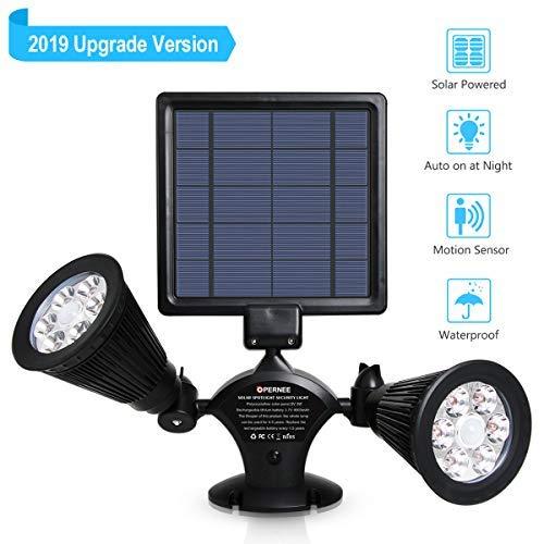 OPERNEE Solar Lights Outdoor, Upgraded Motion Sensor Solar Spotlights 12 LED 600LM Bright 360